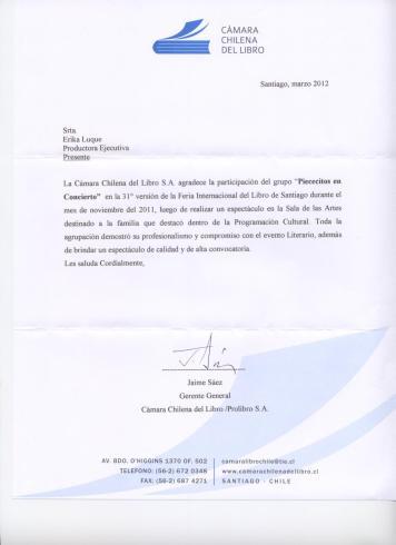 Constancia Cámara Chilena del Libro