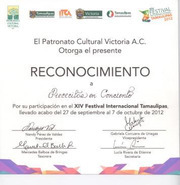 Reconocimiento Piececitos en Concierto Ciudad Victoria, México 2012.
